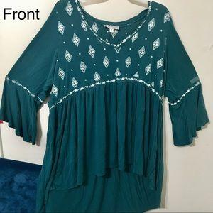 Teal Torrid Diamond Knit - Long Sleeve Top